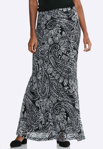 Plus Size Paisley Mermaid Maxi Skirt