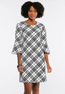 Plus Size Black And White Bell Sleeve Dress