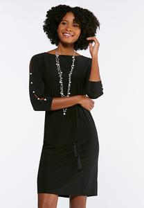 Plus Size Pearl Slit Sleeve A-line Dress