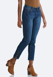 Button Hem Ankle Jeans
