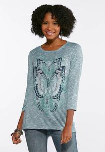 Plus Size Butterfly Hacci Knit Top