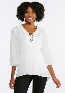 Silver Ring Embellished Top