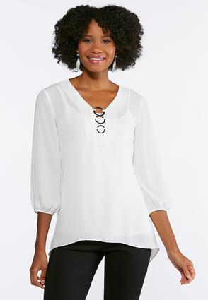 Plus Size Silver Ring Embellished Top