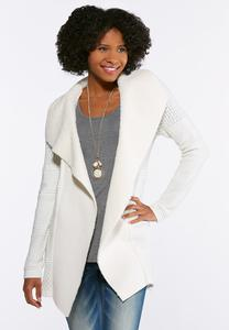 Plus Size Ivory Fleece Collar Sweater Jacket