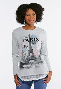 Plus Size I Love Paris Lace Trim Top
