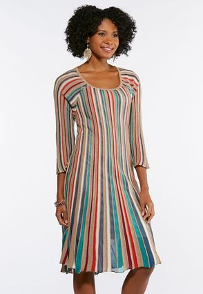 Plus Size Multi Color Stripe Knit Flare Dress