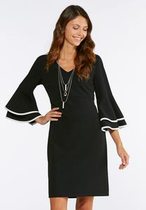 Plus Size Contrast Piping Dress
