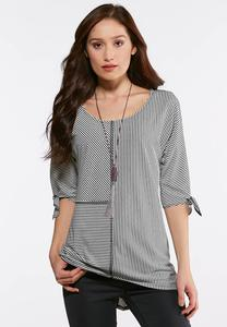 Plus Size Mixed Stripe Tie Sleeve Top