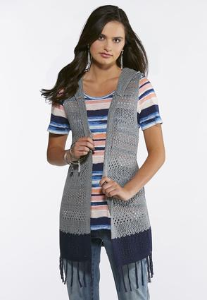 Plus Size Fringed Two-Toned Sweater Vest at Cato in Brooklyn, NY   Tuggl