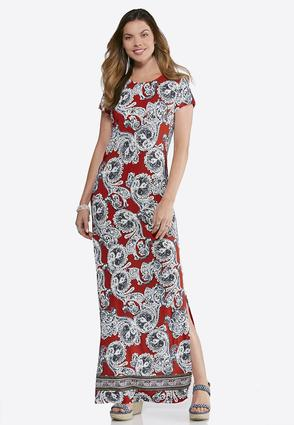 Plus Size Paisley Puff Maxi Dress | Tuggl