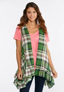Green Plaid Ruffle Vest