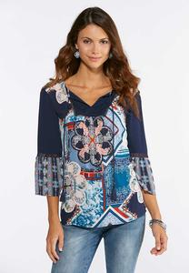 Blue Twin Print Poet Top