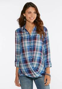 Plaid Envelope Hem Shirt