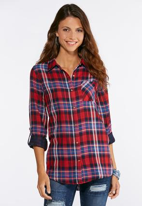 Plaid High- Low Tunic