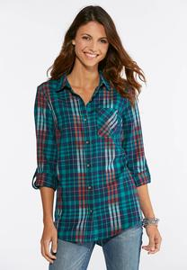 Green Plaid Boyfriend Shirt