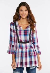 Lace Plaid Poet Top