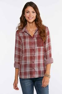 Wine Plaid Button Down Top