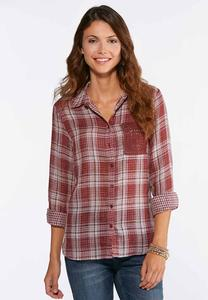 Plus Size Wine Plaid Button Down Top
