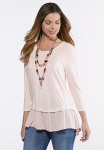 Plus Size Crochet Yoke Chiffon Hem Top