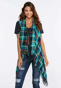 Plus Size Green Plaid Fringe Vest