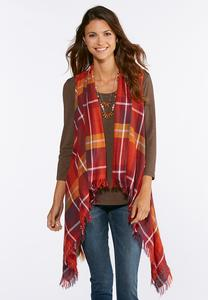 Plus Size Plaid Fringe Vest