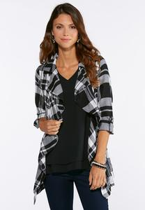 Plus Size Plaid Cinched Back Tunic