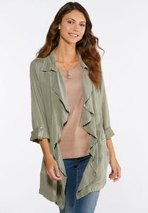 Plus Size Waterfall Front Jacket