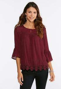 Plus Size Crochet Trim Poet Top
