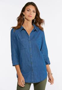 Plus Size Denim Lace Embellished Shirt