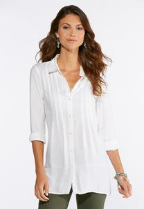 Plus Size Pleated Button Down Shirt