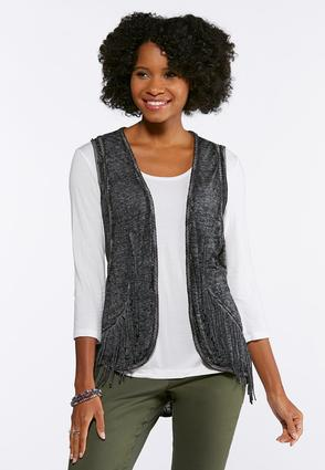 Plus Size Burnout Braided Fringe Vest at Cato in Brooklyn, NY   Tuggl