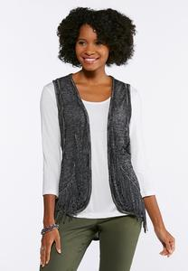 Plus Size Burnout Braided Fringe Vest