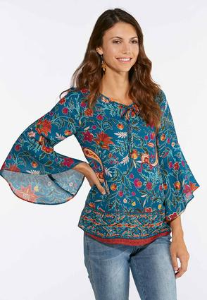 Plus Size Paisley Floral Bell Sleeve Top