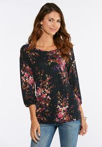 Plus Size Garden Floral Raw Edge Top