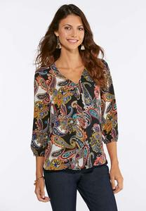 Plus Size Rainbow Paisley High-Low Top