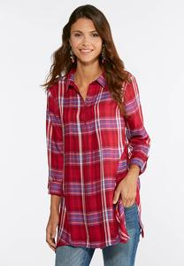 Plus Size Pink Plaid Handkerchief Hem Shirt