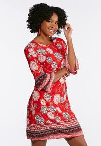 Plus Size Floral Puff Ruffle Sleeve Dress