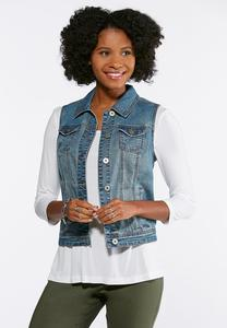 Plus Size Laced Back Denim Vest