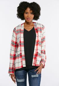 Draped Plaid Jacket