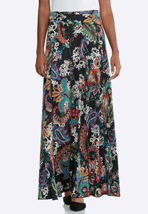 Plus Size Ruched Waist Maxi Skirt