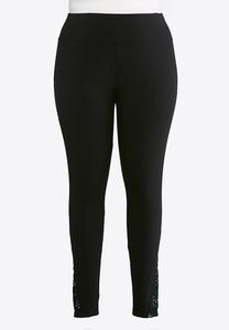 Plus Size Lace Inset Leggings