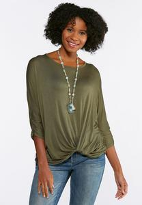 Solid Twist Front Top