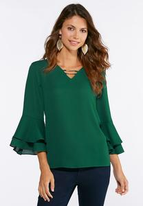 Plus Size Green Ruffled Sleeve Top