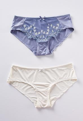 Embroidered Blue Ivory Panty Set | Tuggl