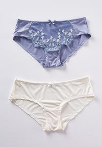 Plus Size Embroidered Blue Ivory Panty Set