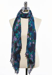 Floral Crochet Oblong Scarf
