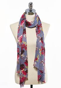Floral Frayed Oblong Scarf