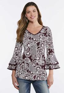Plus Size Tiered Sleeve Puff Print Top