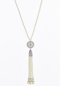 Rhinestone Pearl Tassel Necklace