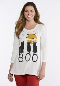 Plus Size Cats Boo Graphic Top